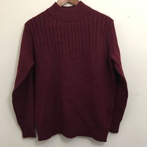 Vintage Maroon Dark Red Faux Turtleneck Sweater